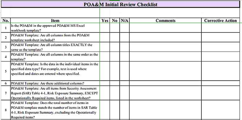 Initial Review Inventory Checklist Sample s Sample