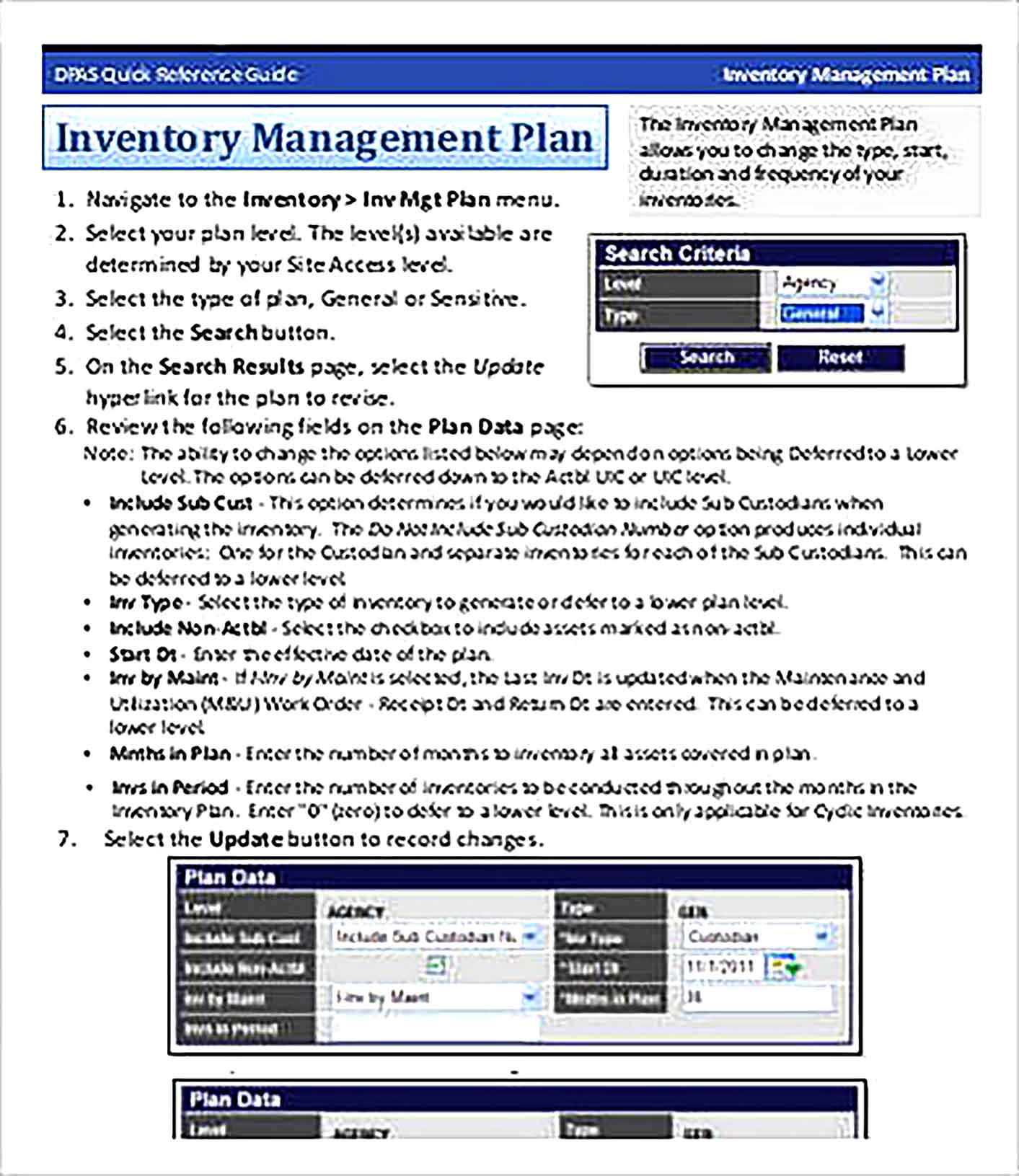 Inventory Management Plan