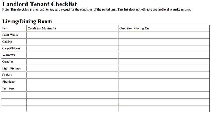 Landlord Tenant Inventory Checklist s Sample