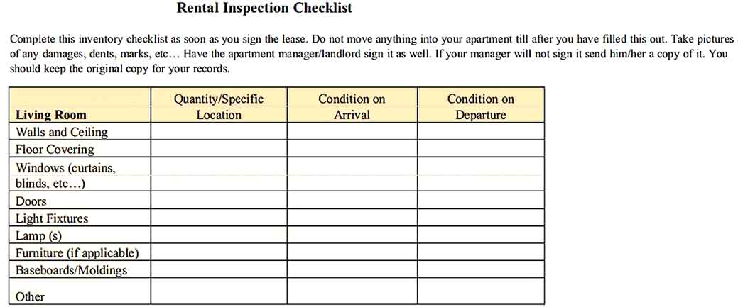 Rental Inspection Inventory Checklist Example s Sample
