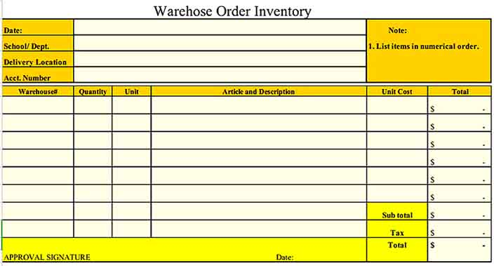 Warehose Order Inventory Example s Sample